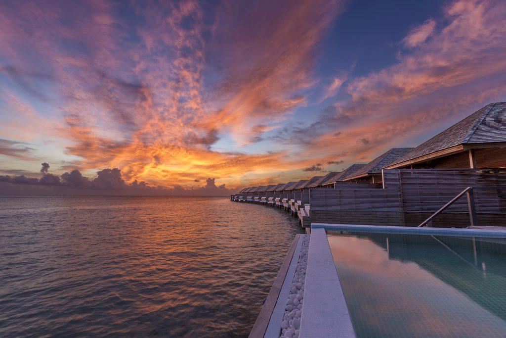Maldives - Lhaviyani Atoll - 1567 - Hurawalhi Island Resort - Ocean Pool Villa Exterior at sunset