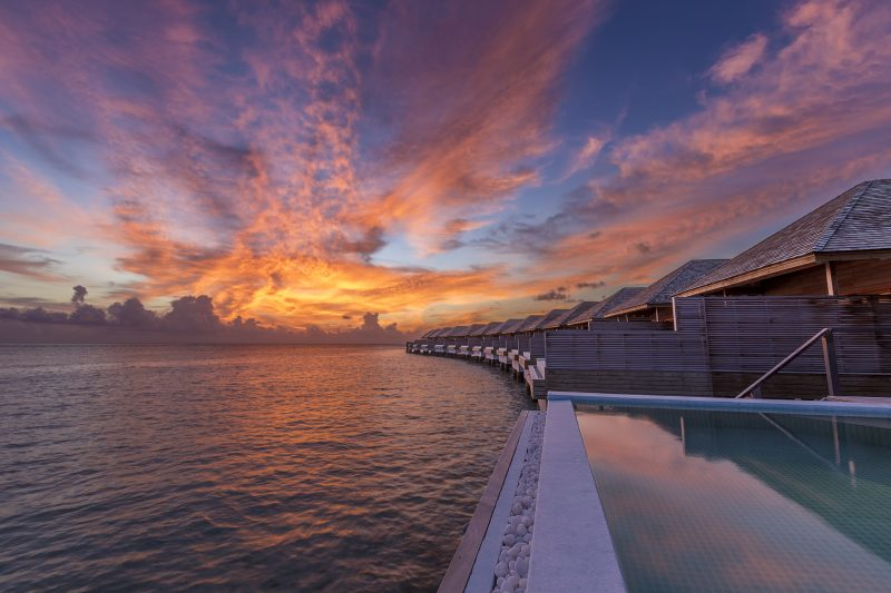Maldives - Lhaviyani Atoll - 1567 - Hurawalhi Island Resort - Ocean Pool Villa Exterior at sunset