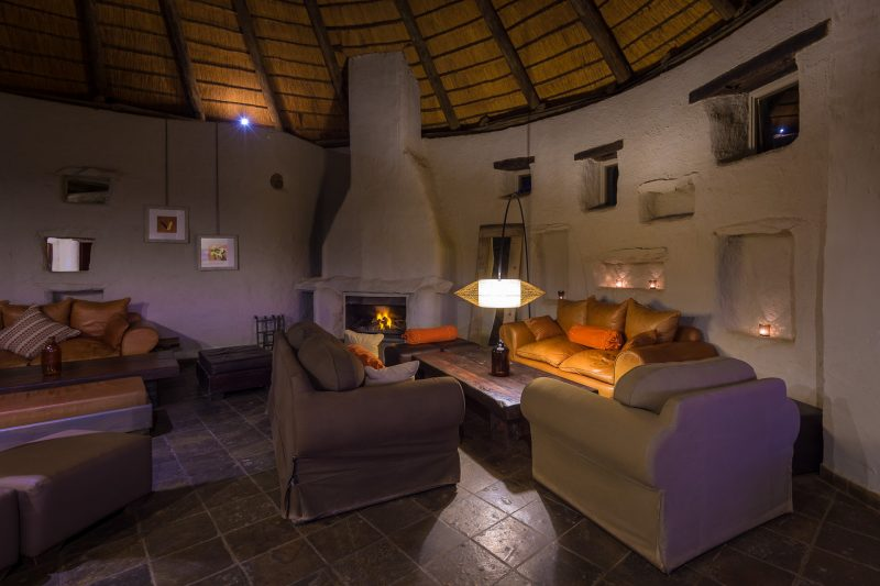 Namibia - 1552 - Sossusvlei - Kulala Desert Lodge - Cozy Lounge and fire