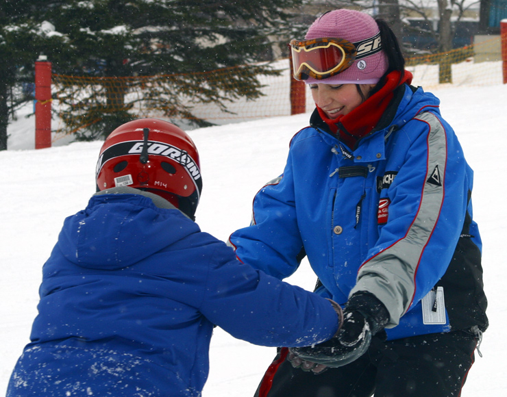Snowboard Instructor Teaching
