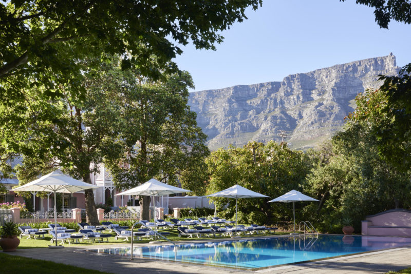 South Africa - Cape Town - Belmond Mount Nelson - Cottages pool and mountain view