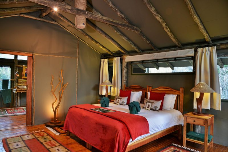South Africa - Eastern Private Game Reserves - Sibuya Forest Camp - Tent interior double bed
