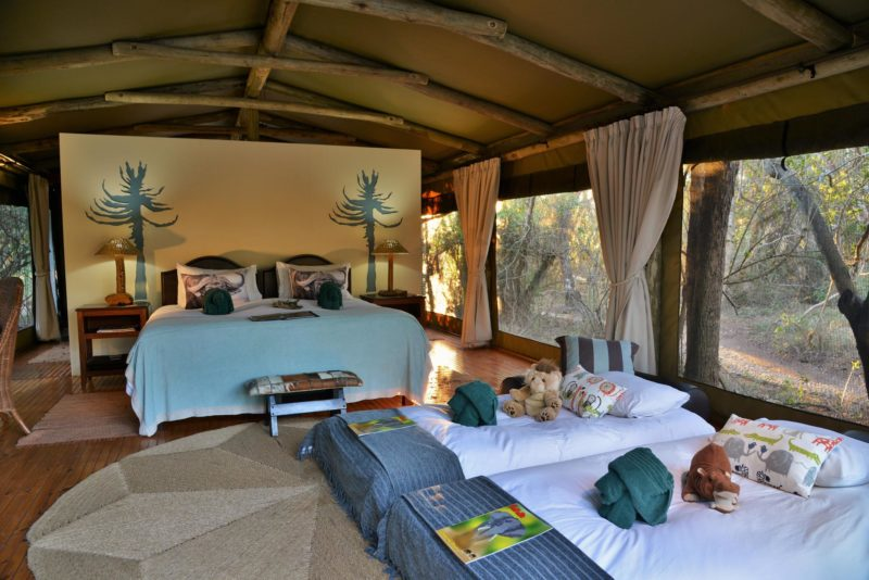 South Africa - Eastern Private Game Reserves - Sibuya River Camp - Tent interior children beds