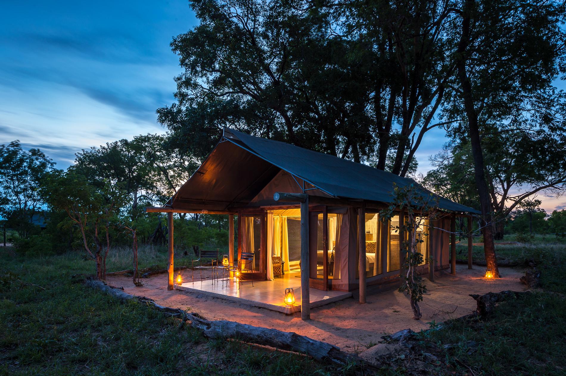 Davison's Camp Hwange Zimbabwe Tented Accommodation at night