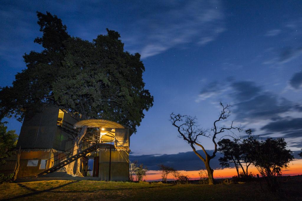 Namibia - Nkasa Rupara National Park - 1552 - Jackalberry Tower at Night
