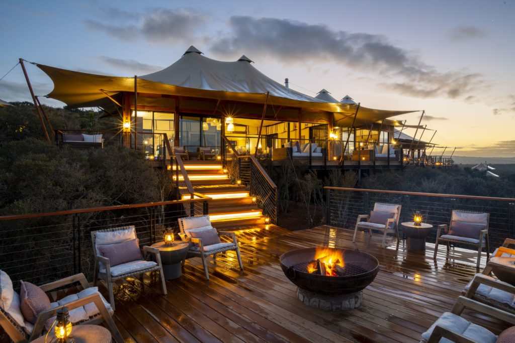 South Africa - Eastern Private Game Reserves - 4948 - Decking with Seating at Night