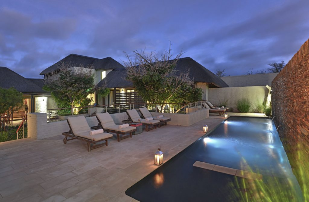 South Africa - Eastern Private Game Reserves - Shamwari Sarili - Family lodge pool, at night