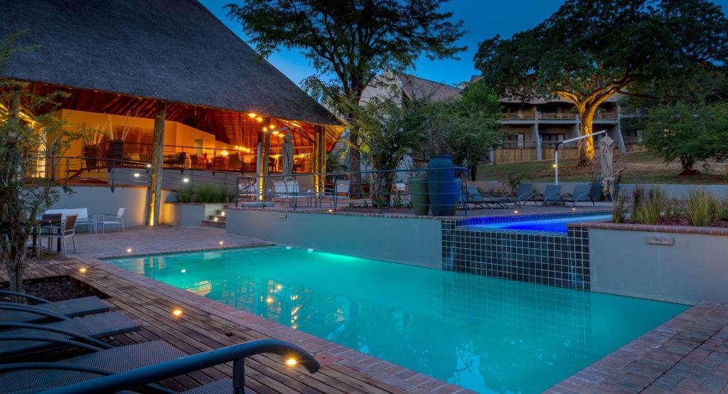 Chobe Bush Lodge Pool at night