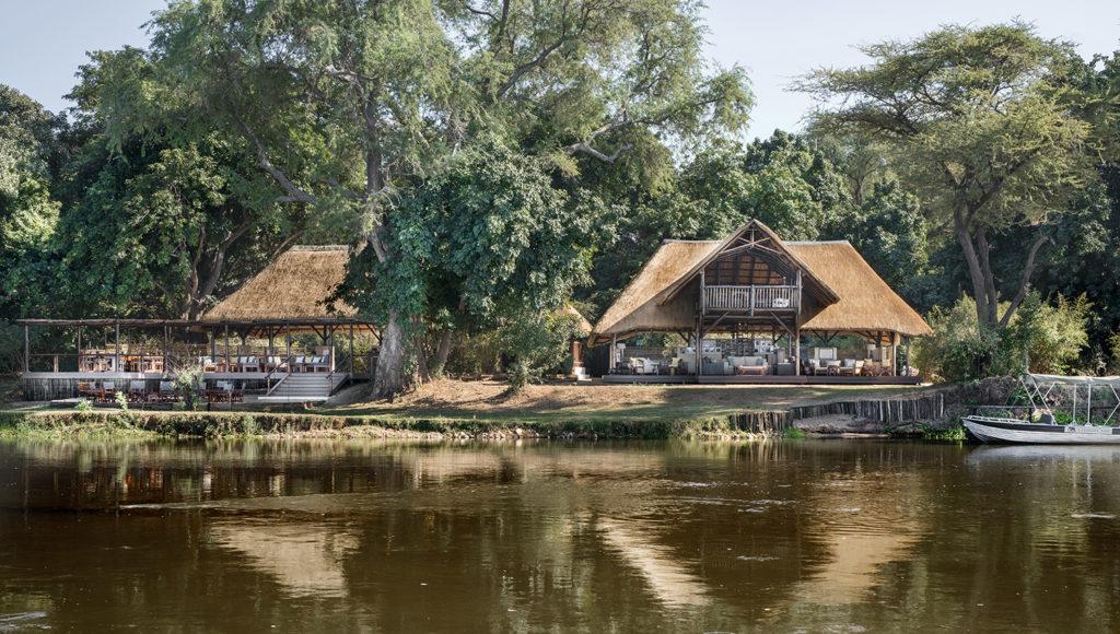 Zambia - Lower Zambezi - 1564- Chiawa Camp from the River