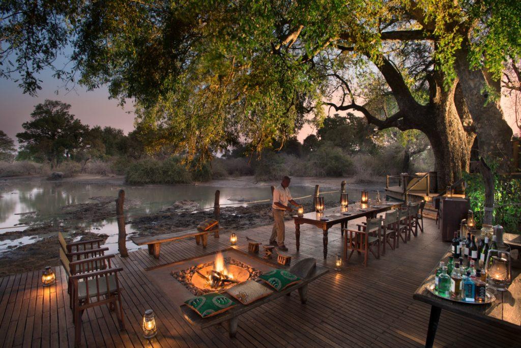 Zimbabwe - Mana Pools - 1564 - Kanga Camp Seating Area Overlooking a Lake