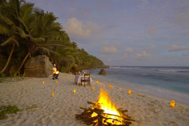 Seychelles - Fregate Island -1554 - Fregate Island Private - Dining - Beach Dinner - Firepit and candles