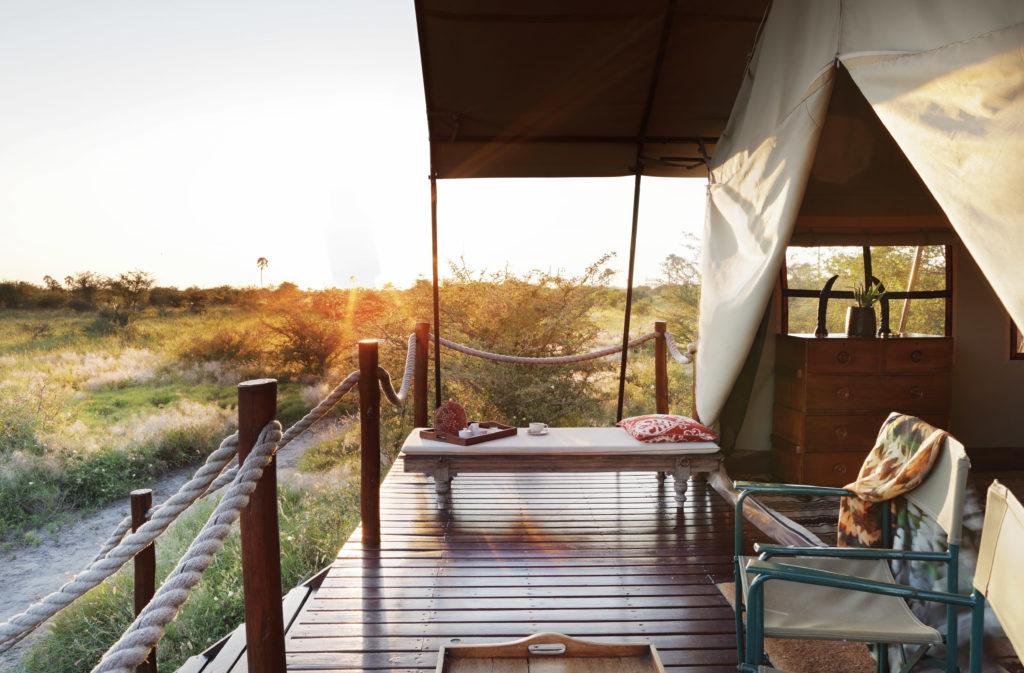 Botswana - Makgadikgadi Salt Pans - 1553 - Camp Kalahari Bedroom Tent at sunrise
