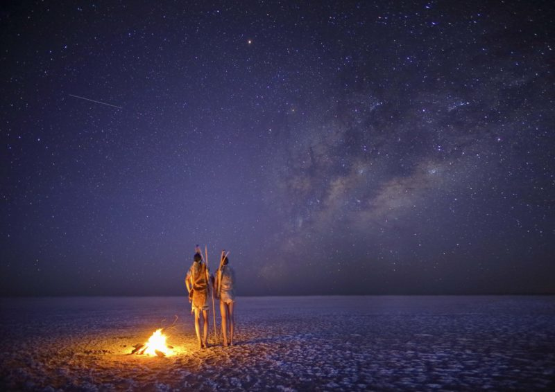 Botswana - Makgadikgadi Pans National Park - Meno a Kwena Salt Pan at night stargazing
