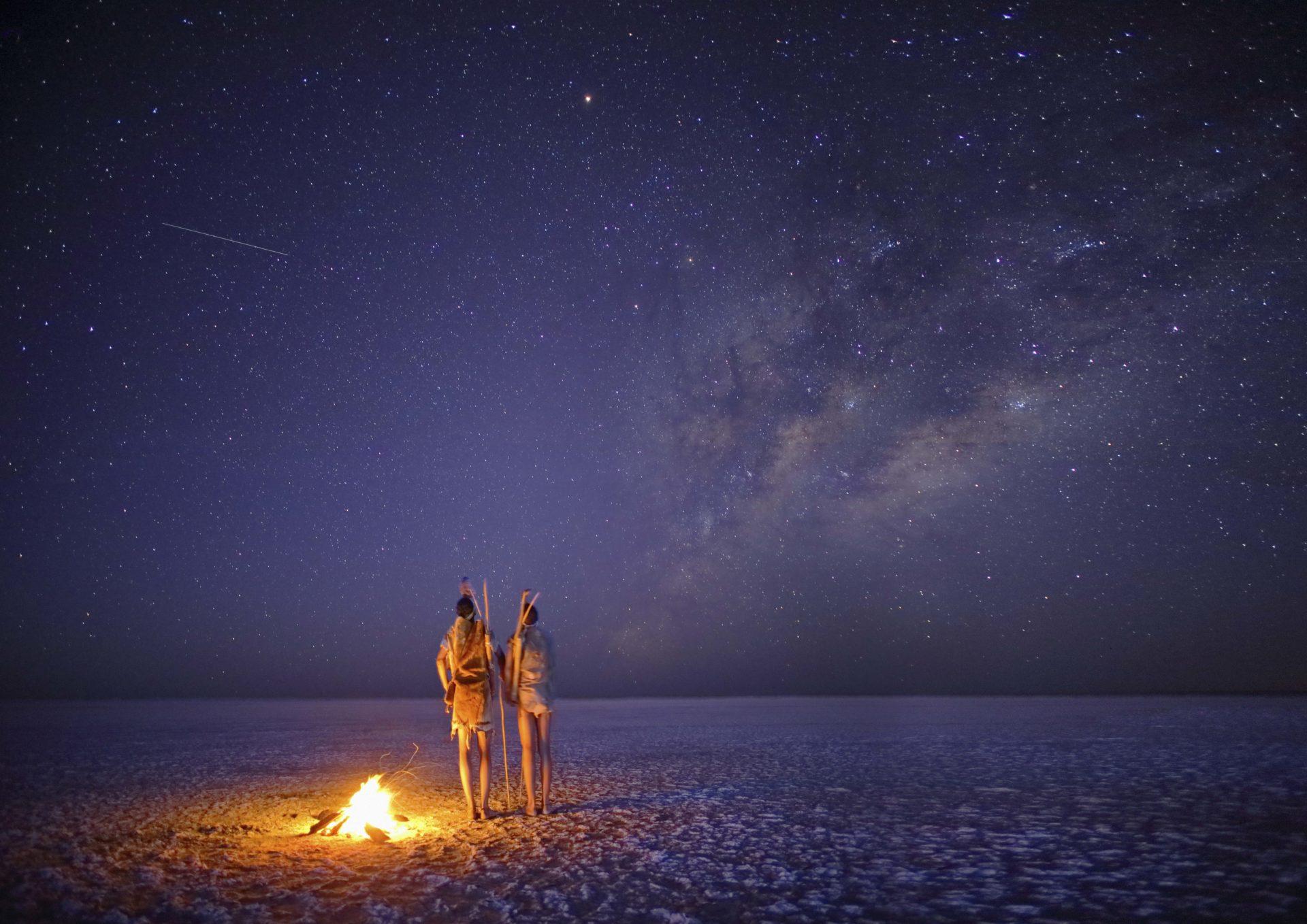 Botswana - Makgadikgadi Pans National Park - Meno a Kwena Salt Pan at night stargazing
