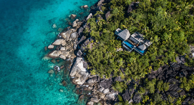 Seychelles - Mahe Island- 1554 - Maia Luxury Resort & Spa - Premier Ocean View Pool Villa - Coastline image from above