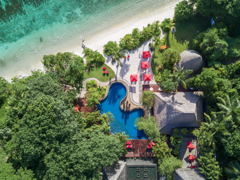 Seychelles - Mahe Island- 1554 - Maia Luxury Resort & Spa - Pool & Restaurant Aerial View