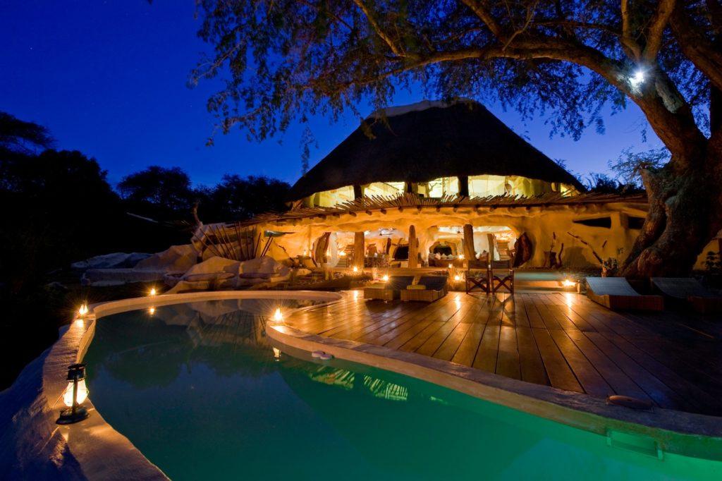 Zambia - Lower Zambezi - 1564 - Chongwe River House Pool at night