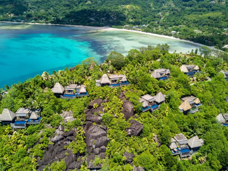 Seychelles - Mahe Island- 1554 - Maia Luxury Resort & Spa - Ocean View Pool Villa - Villas Aerial - Beach viewpoint