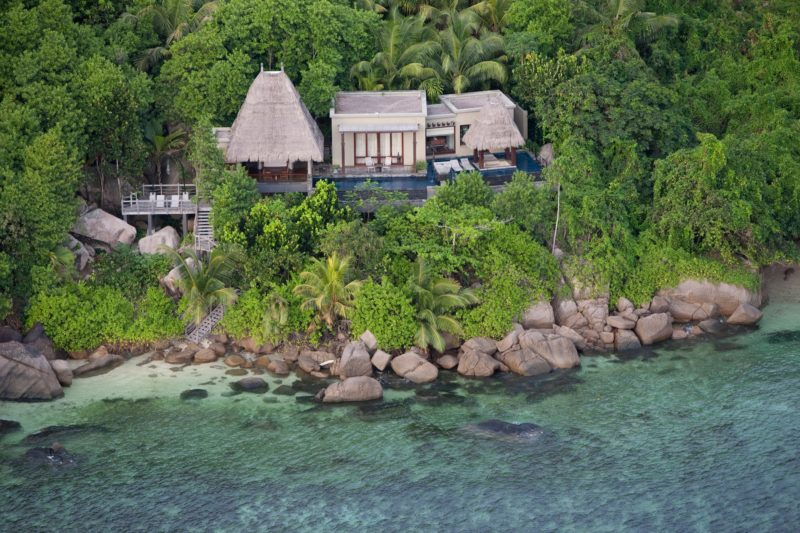Seychelles - Mahe Island- 1554 - Maia Luxury Resort & Spa - Premier Beach Pool Villa Aerial by the coast