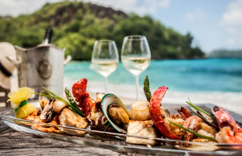 Seychelles - Mahe Island- 1554 - Maia Luxury Resort & Spa - Lunch Platter by the beach