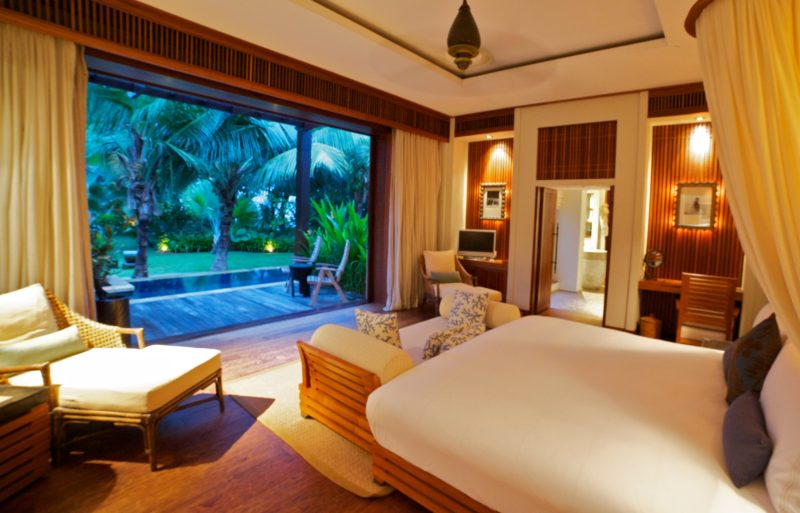 Seychelles - Mahe Island- 1554 - Maia Luxury Resort & Spa - Premier Beach Pool Villa Bedroom view of gardens