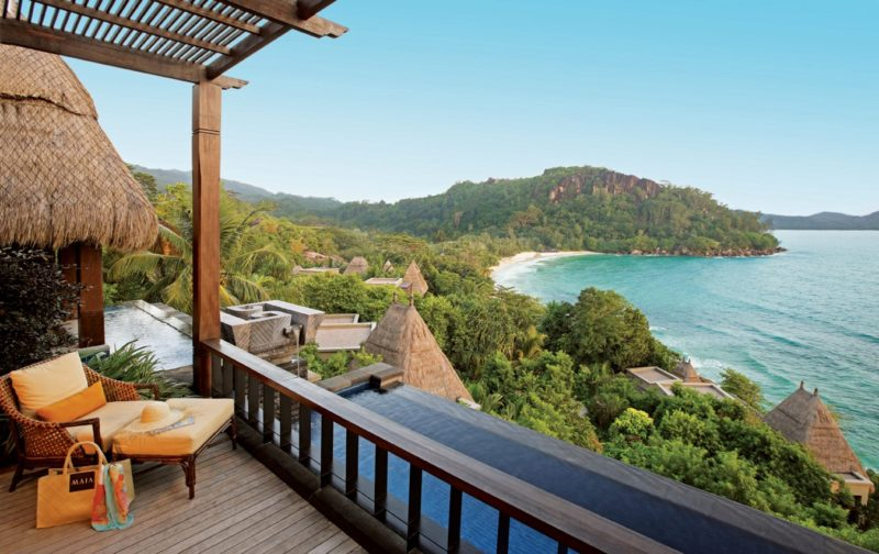 Seychelles - Mahe Island- 1554 - Maia Luxury Resort & Spa - Premier Ocean View Pool Villa - Decking and beach views