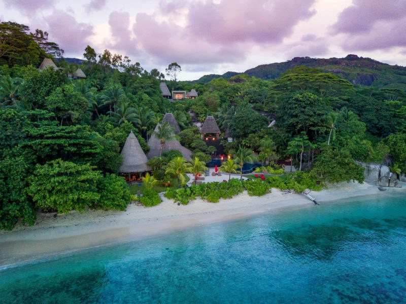 Seychelles - Mahe Island- 1554 - Maia Luxury Resort & Spa - Restaurant Bar Pool Aerial