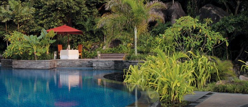 Seychelles - Mahe Island- 1554 - Maia Luxury Resort & Spa - Romantic Dinner Pool Side