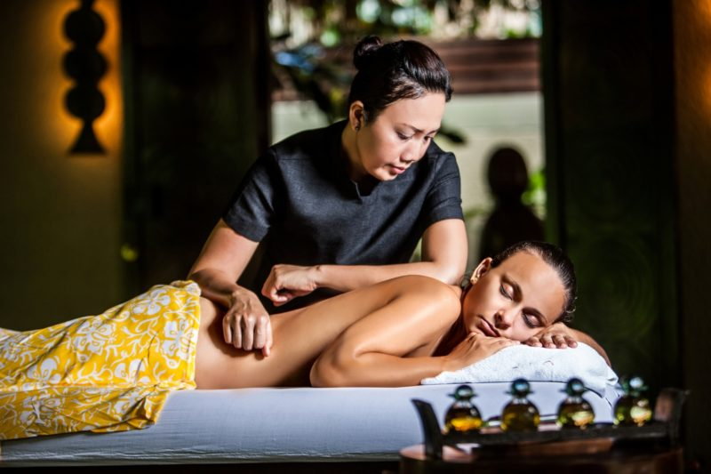 Seychelles - Mahe Island- 1554 - Maia Luxury Resort & Spa - Spa Treatment on massage bed