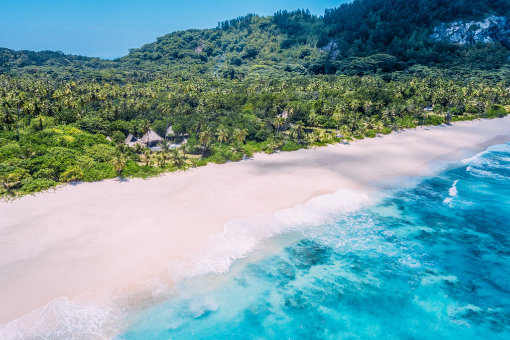 Seychelles - North Island - 1554 - North Island Resort - Aerial over East beach - Villa beach front