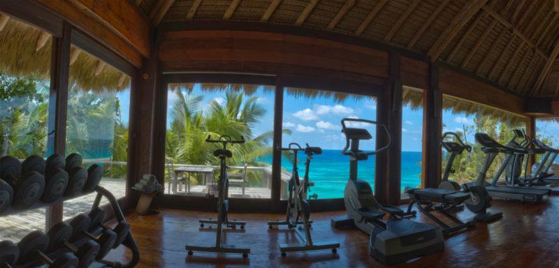 Seychelles - North Island - 1554 - North Island Resort - Gym sea views