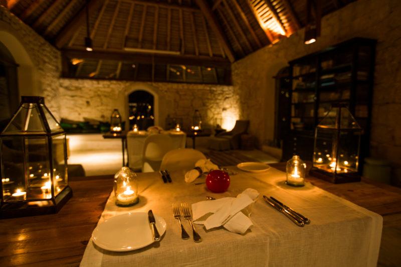Seychelles - North Island - 1554 - North Island Resort - Piazza Indoor Dining - Under Candlelight