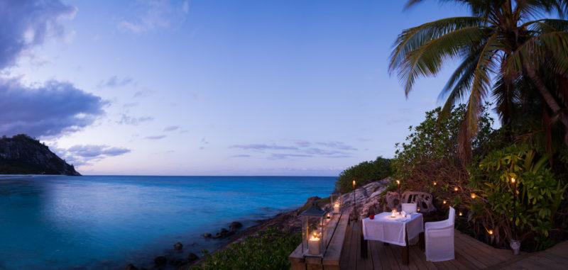 Seychelles - North Island - 1554 - North Island Resort - Remote Romantic Dining - Lanterns by the coast