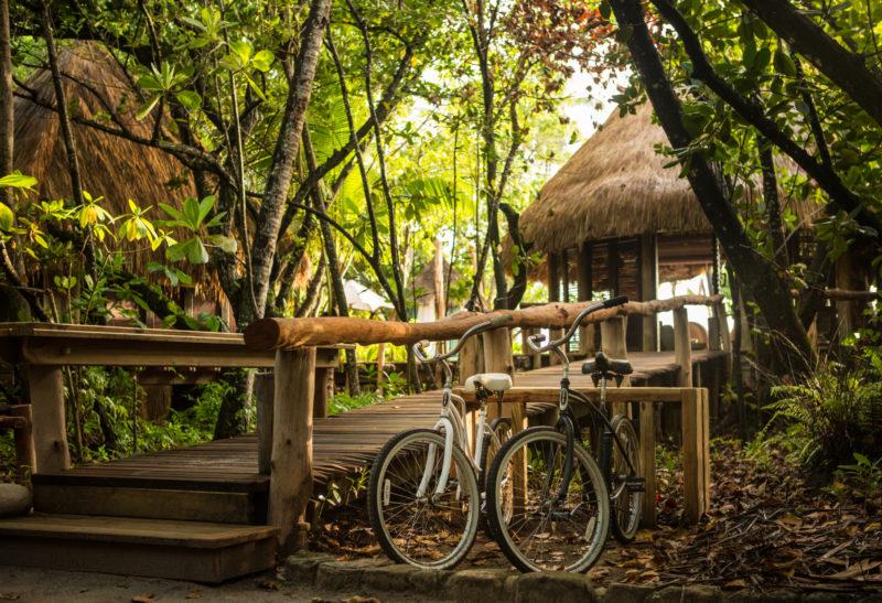 Seychelles - North Island - 1554 - North Island Resort - Villa Bicycles outside decking walkway