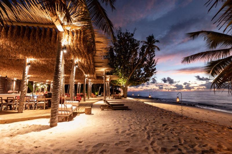 Seychelles - North Island - 1554 - North Island Resort - West Beach Bar Sunset - Candlelit dining