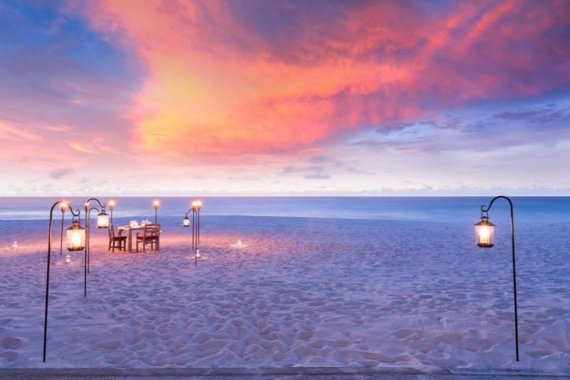 Seychelles - North Island - 1554 - North Island Resort - West Beach Sunset Dining - Lanterns and beach location