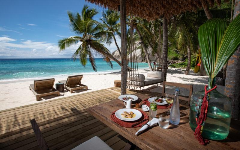 Seychelles - North Island - 1554 - North Island Resort - West beach bar dining area with sea views