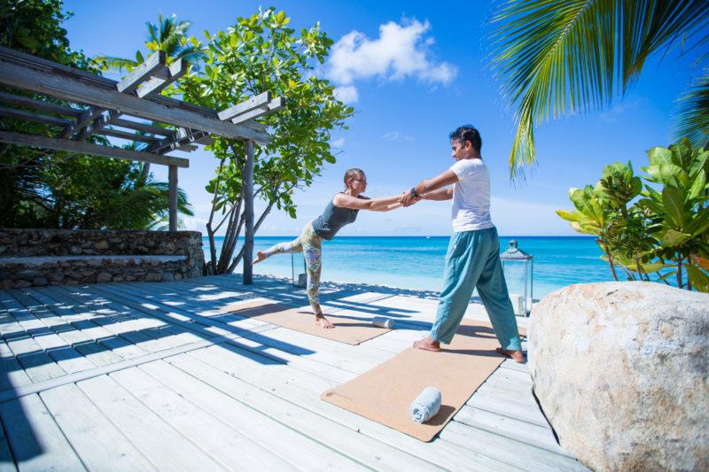 Seychelles - North Island - 1554 - North Island Resort - Yoga session with sea views