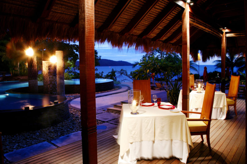 Seychelles - Mahe Island- 1554 - Maia Luxury Resort & Spa - Tec - Tec Restaurant - Dining seating and outside