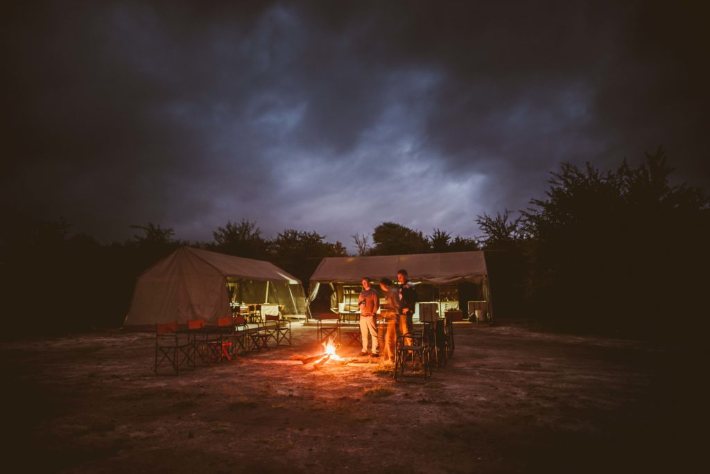 Botswana - Nxai Pan National Park - 1553 - Migration Expeditions Camp fire at night
