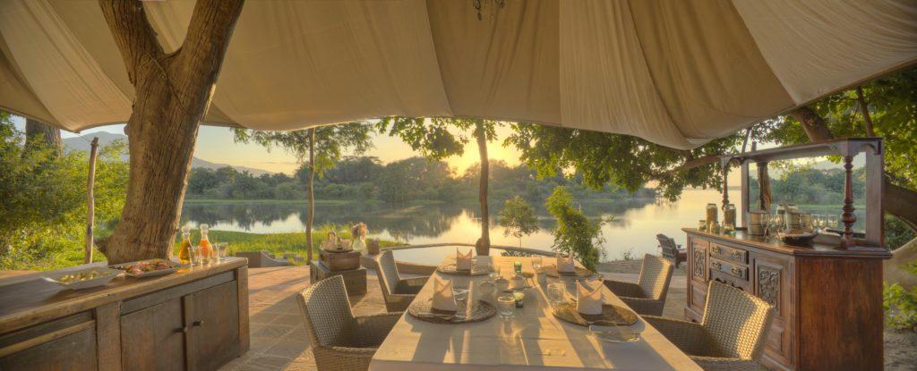 Zambia - Lower Zambezi - 1564 - Eating area overlooking river