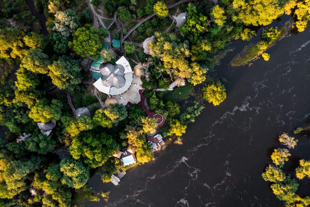 Zambia - Mosi-Oa-Tunya National Park - 1564 - Aerial shot of lodge