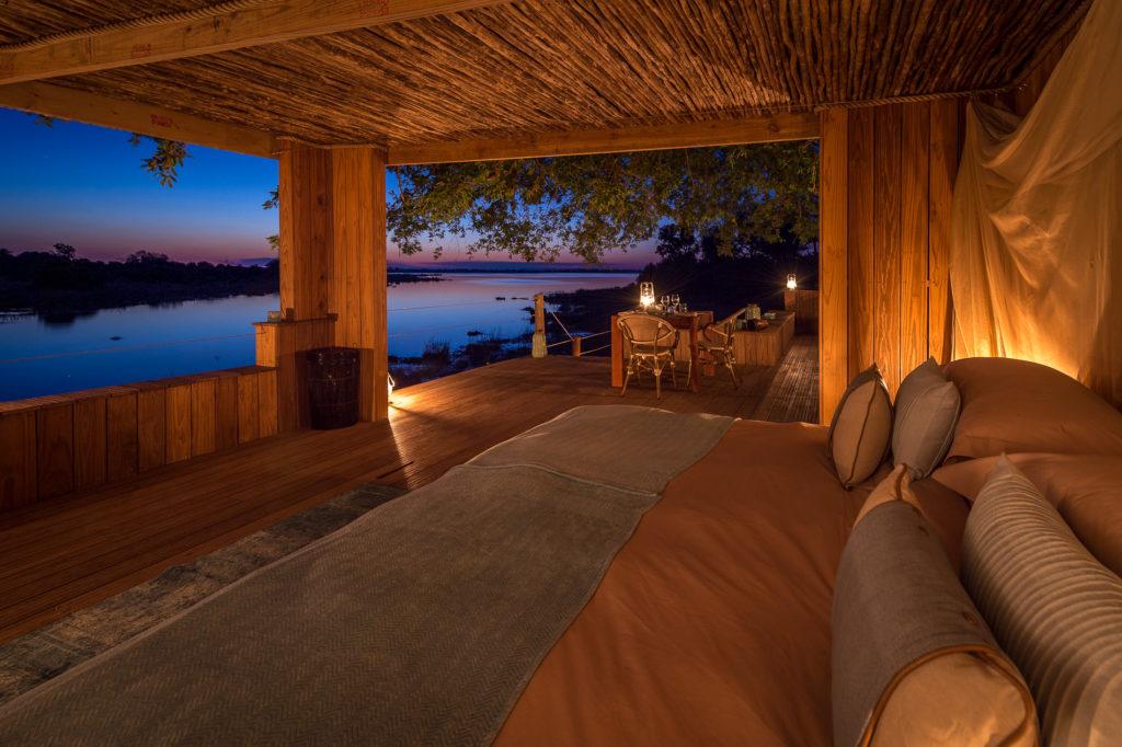 Botswana - Linyanti Concessions - Duma Tau Camp - Safari tented room at night