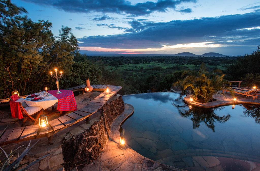Kenya - Chyulu Hills National Park - 12890 - Ol Donyo Lodge plunge pool at night