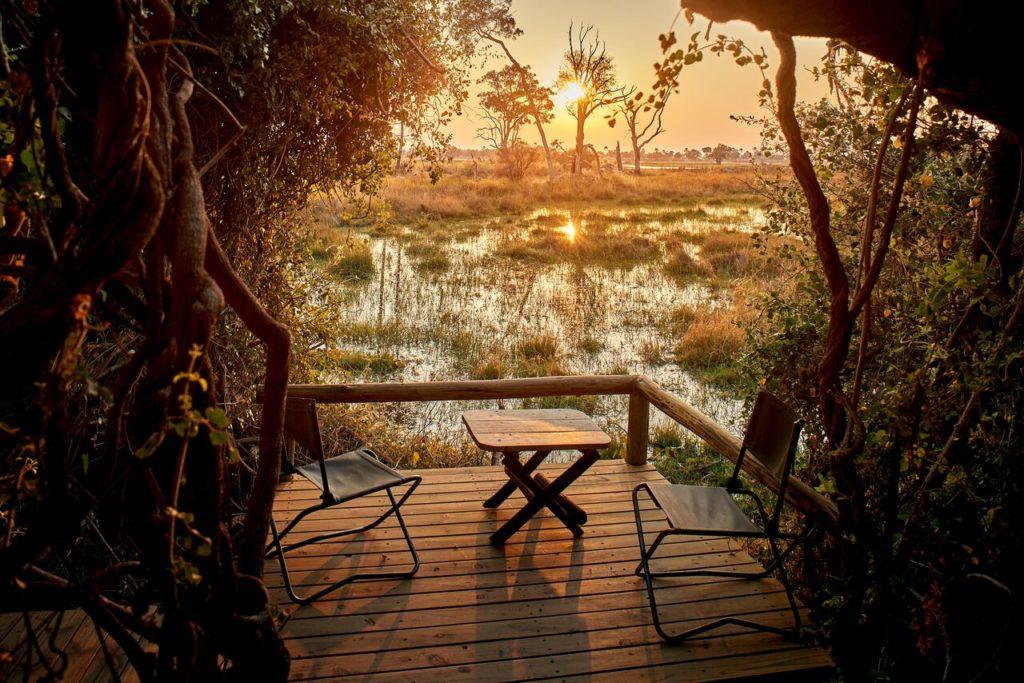 Botswana - Moremi Game Reserve - Oddballs' Camp Sunset on Decking