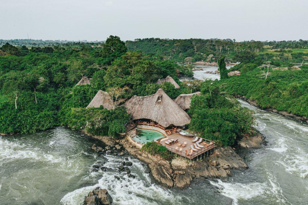 Uganda - Jinja - 1568 - Lemala Wildwaters Ariel Shot of Lodge