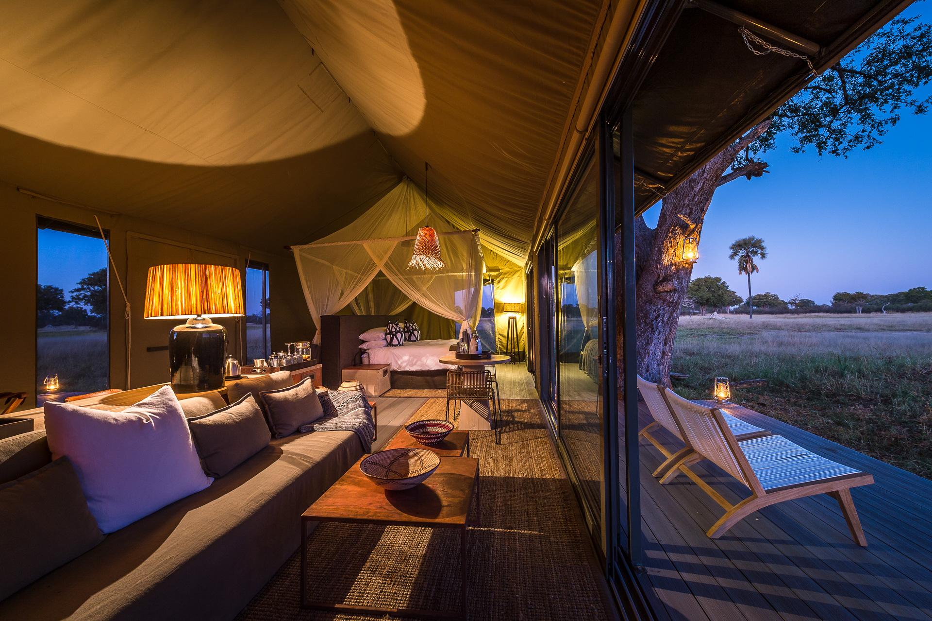 Linkwasha Camp Hwange Zimbabwe Tented Accommodation in the Evening