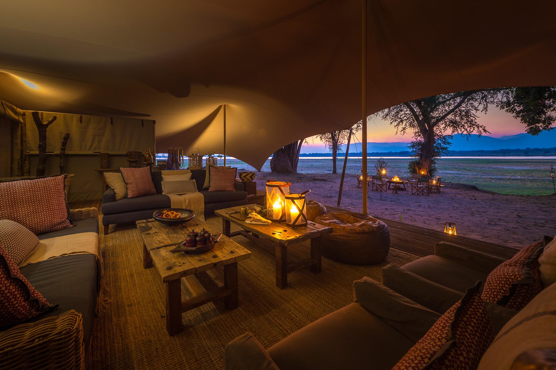 Little Ruckomechi Mana Pools Zimbabwe Tented Views at Sunset