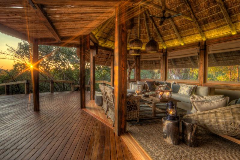 Botswana - 1553 - Camp Okavango Lounge at Sunset