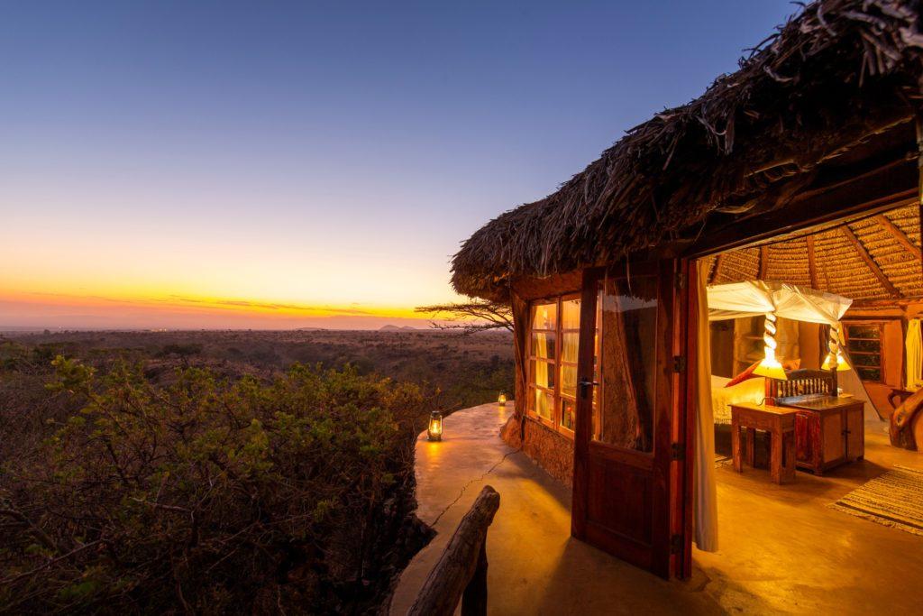 Kenya - Lewa Conservancy - 12890 - Lewa Wilderness Mountain Room at Night